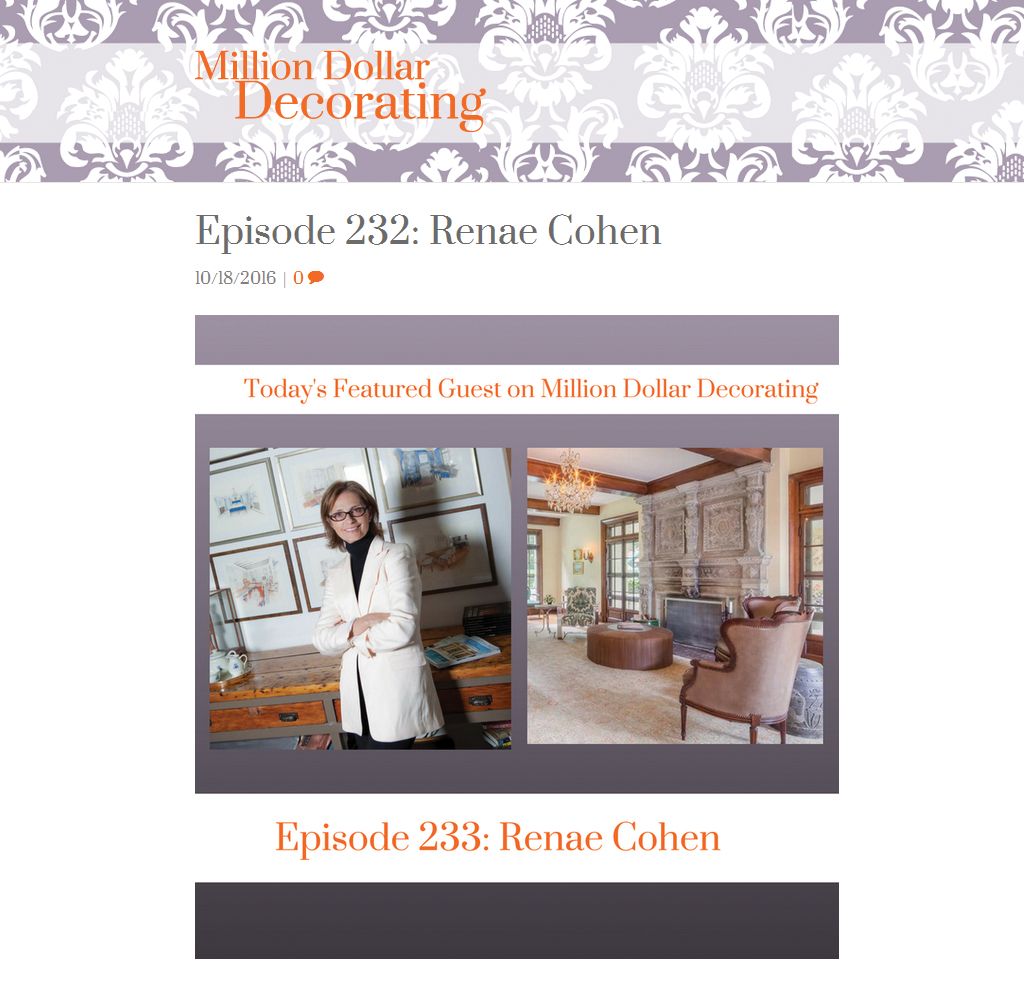 Million Dollar Decorating - Podcast with Renae Cohen